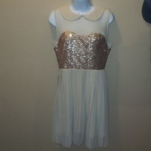 GRACIA sequin rose gold dress large collared